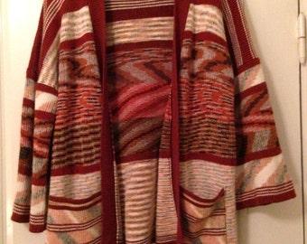 Knit Kimono Cardigan 70s Throw Coat