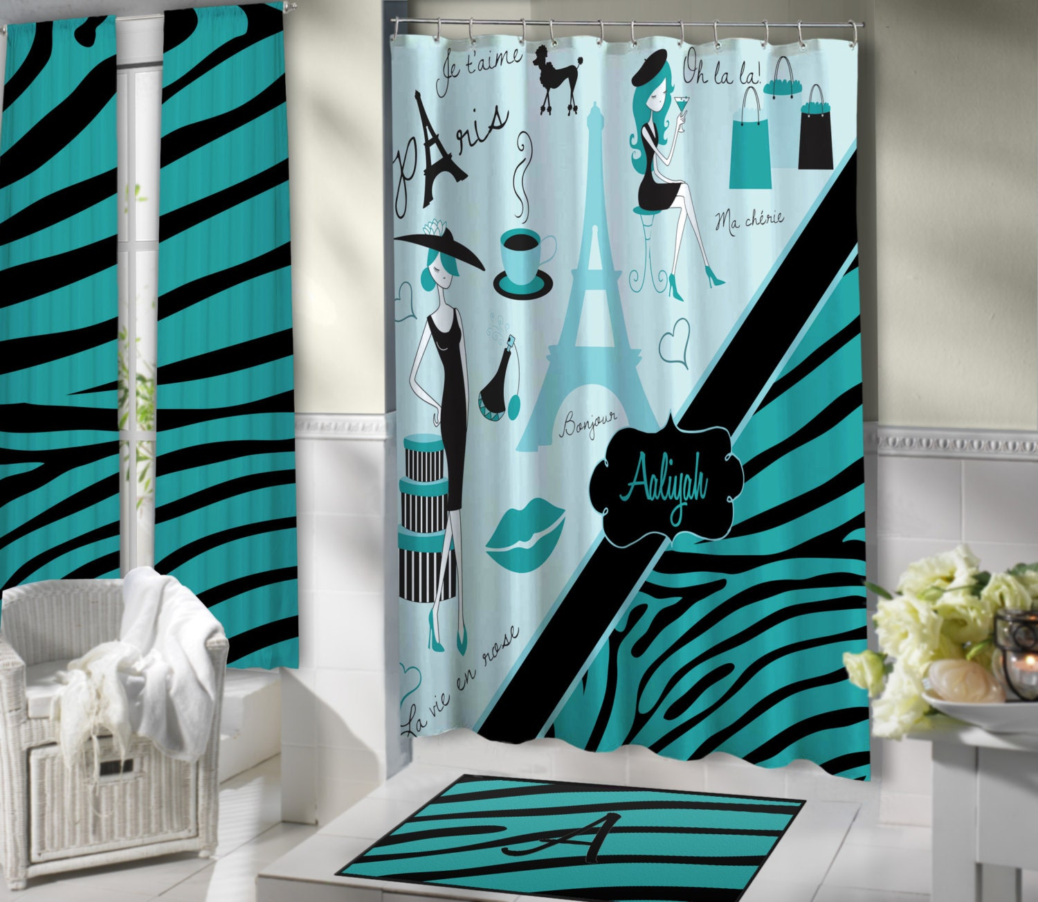 paris themed bathroom.  zoom Stylish Paris Shower Curtain Aqua Blue bathroom theme Eiffel