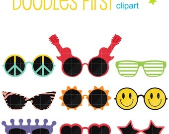 Funky Sunglasses Clip Art for Scrapbooking Card Making Cupcake Toppers Paper Crafts