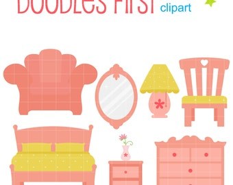 Girl's Bedroom Clip Art for Scrapbooking Card Making Cupcake Toppers Paper Crafts