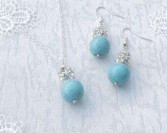 Turquoise Bridesmaid Jewelry - Bridesmaid Jewelry - Turquoise Bridal Jewelry - Pearl and Rhinestone - Beach Wedding - Bridesmaid Set