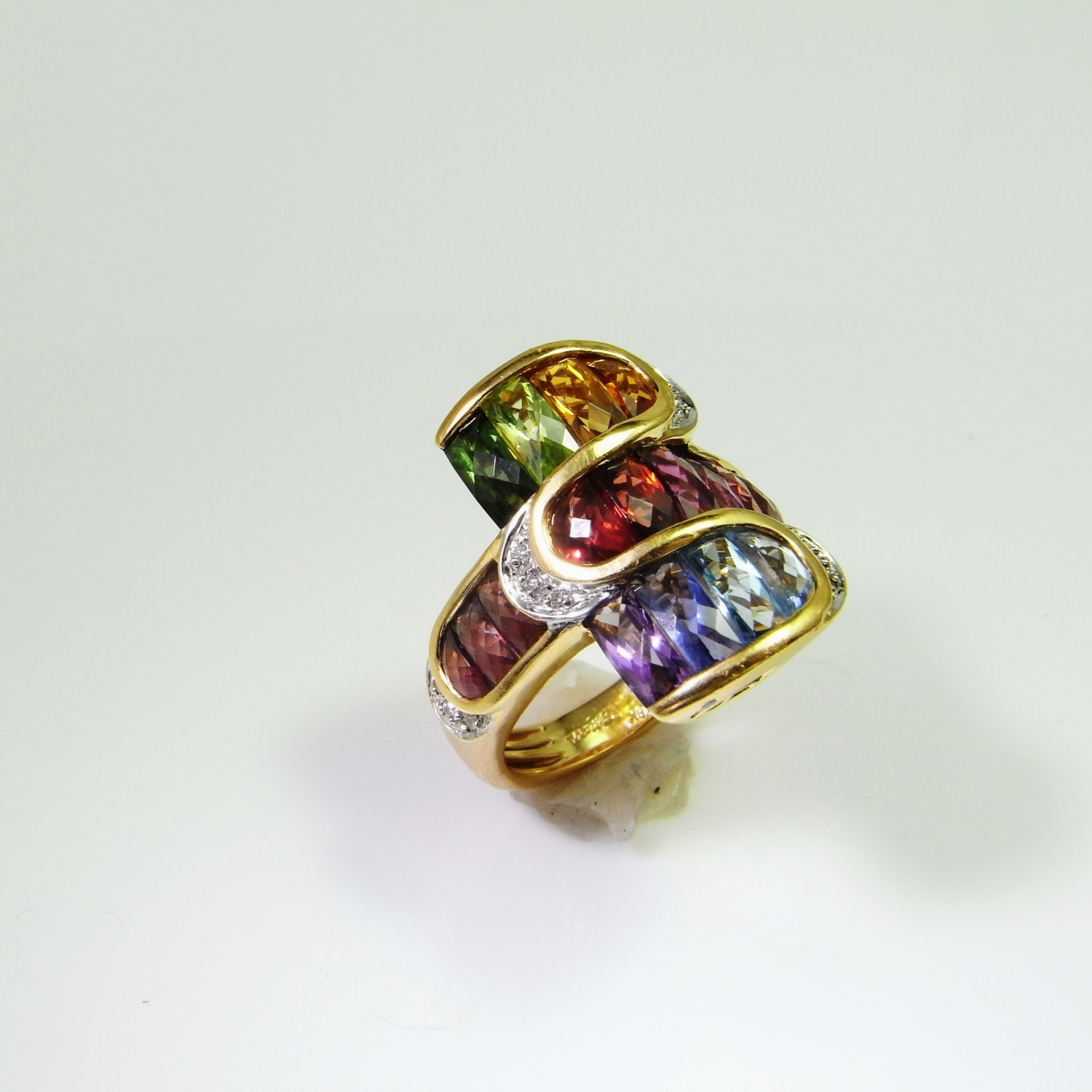 rainbow ring rainbow jewelry cocktail ring 18k gold