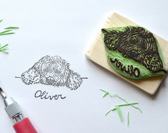 Custom rubber pet portrait stamp - hand carved - gift idea