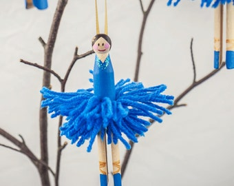 One single blue vintage peg doll ballerina decoration