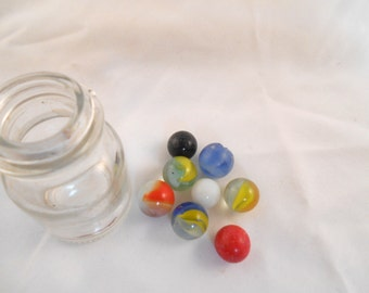 Vintage Marbles Children Marbles  Old glass Marbles Toy marbles Jewelry supply 8 count