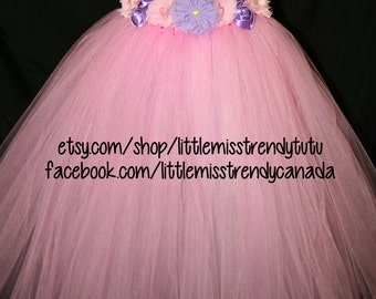 Pink Tutu Dress with Pink and Purple Flowers, Pink Flower Girl Tutu Dress, Pink Tutu Dress, Pink Tutu Birthday Dress