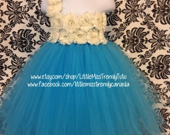 Turquoise Flower Girl Dress, Turquoise Tutu Dress, Girls Tutu Dress, Turquoise Ivory Tutu, Ivory Turquoise Tutu Dress, Flower Girl Dress