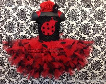 Ladybug Tutu Dress with Red Flower Cap, Ladybug Halloween Tutu Dress, Ladybug Tutu Dress, Ladybug Costume, Girls Ladybug Tutu Dress