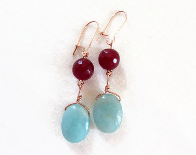 Amazonite earrings, Rose gold plated earrings, ruby quartz and amazonite, semi precious gemstone earrings, Gift for her, handmade in the UK