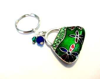 Handbag Purse Charm, Bling Keychain, Pocketbook Keychain, Green Navy Blue Handbag Charm, Rhinestone Keychain With Swarovski Crystal Elements