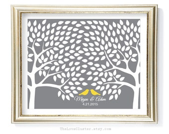 Wedding Tree Guestbook Print / 16x20 / 200 Guests / Signature Guest Book Alternative / Guest Book Poster / Personalized Wedding Print