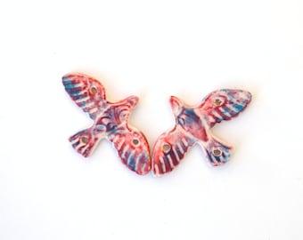 Bird Bead Handmade Polymer Clay Patterned Body Dove Bird Beads Red Blue