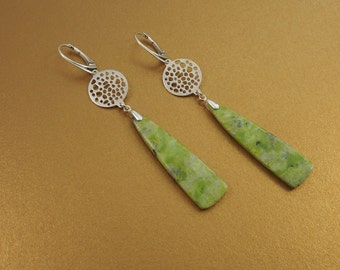 Long, lean lines and bold geometry in dangle earrings of lime green serpentine & sterling silver