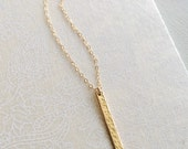 Hammered Gold Bar Necklace ~ Vertical Hand Textured Gold Rectangle on 14k Gold Fill ~ Minimal Geometric Layering Necklace