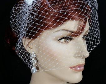 Birdcage veil, Birdcage Wedding veil, Bridal Veil, Bridal Birdcage Veil, Russian Knitting Birdcage Veil, Top comb birdcage Veil