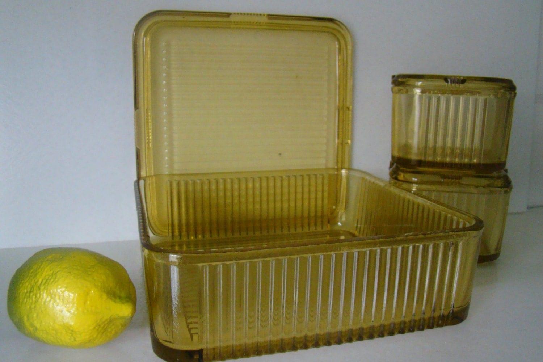 Vintage Glass Refrigerator Box Set Amber Federal Depression