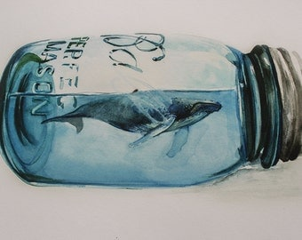 Large Print Humpback Whale in Mason Jar Watercolor Painting