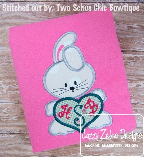 Bunny Heart Appliqué embroidery Design - Easter appliqué design - rabbit appliqué design - bunny appliqué design - heart appliqué design