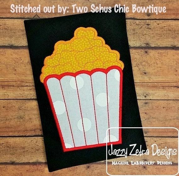 Popcorn Applique embroidery Design - popcorn appliqué design - movie appliqué design - concession stand appliqué design - circus appliqué