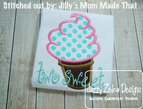 Soft Serve Ice Cream Cone Appliqué embroidery Design - ice cream appliqué design - summer appliqué design - dessert appliqué design