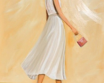Original Oil Painting -And It Was All Yellow - Golden Yellow Sky Open Green Field Woman in a White Dress Happy Art by Tina Petersen