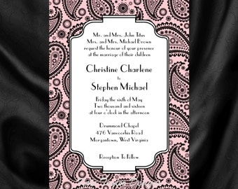 Art Nouveau Art Deco Wedding Invitation & RSVP - William Morris Design 1