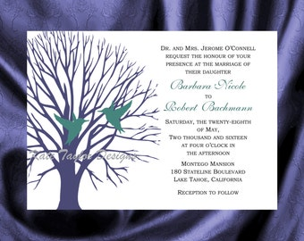 Tree  Bird Invitation & RSVP  Tree Bird Wedding Invitation - Tree Love Bird Wedding Invitation - Love Bird Invitation - Tree Design 14