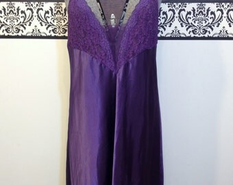 Victoria's Secret 1980's Royal Purple Pin Up Lingerie, Size Large, Vintage Bombshell Nightgown, 1980's Pin Up Gold VS Floor Length Teddy