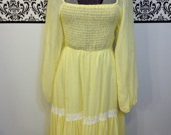 1960's Sunshine Yellow Boho Maxi Dress by Candi Jones of California, Size Small / Medium, 60's Bohemian Maxi SunDress, Vintage Yellow Dress