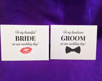 Wedding Day Cards Set - To My Groom & To My Bride Cards