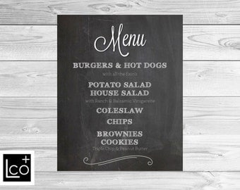 Wedding Menu Poster, Chalkboard Wedding Menu Sign, Printable Wedding Menu, Chalkboard Wedding Menu Poster, Menu poster board, Wedding Menu
