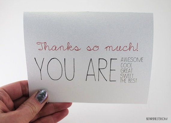 Unique Thank You Cards thank you card / blank inside thank you / bulk thank you /