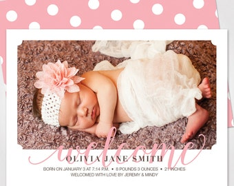 Custom Baby Girl Announcement / Birth Announcement / Baby Announcement Card - Printed