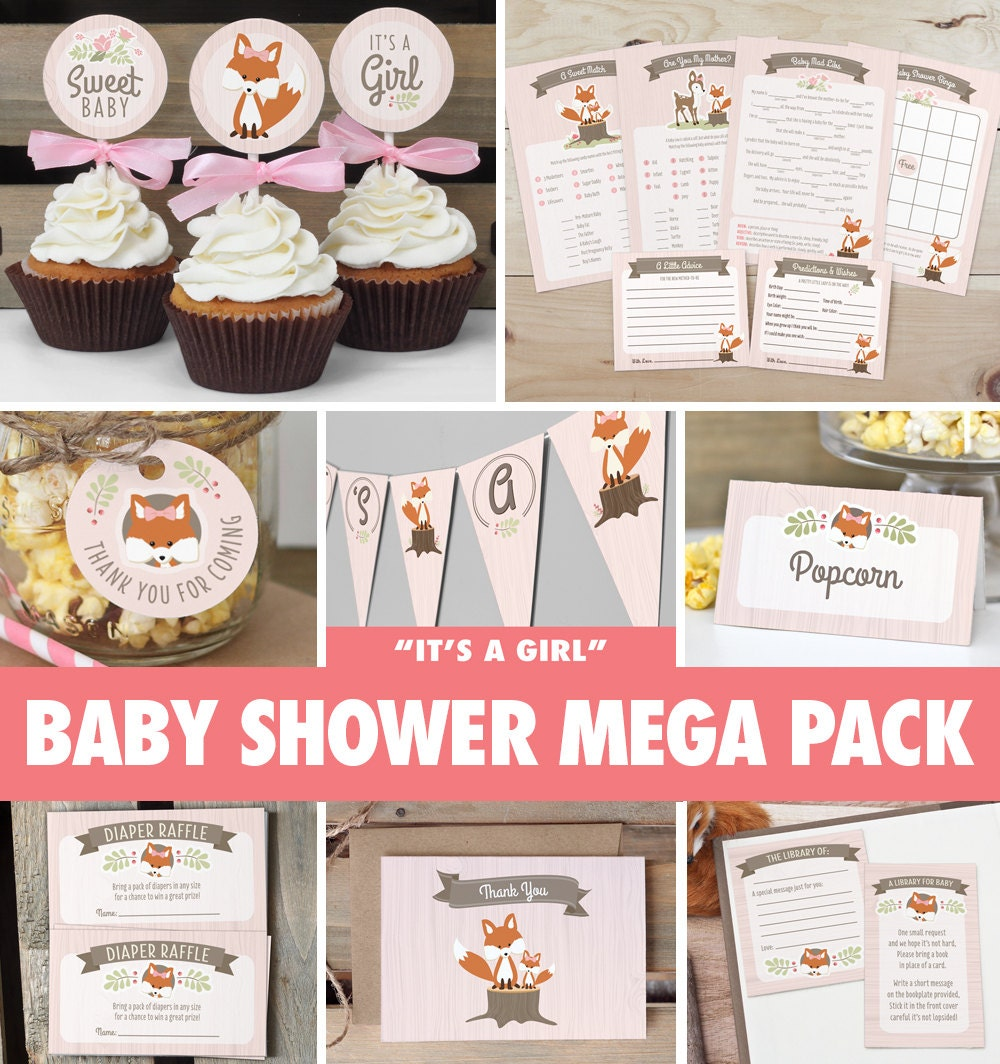 Girl woodland baby shower mega pack instant download fox for Baby shower decoration packs
