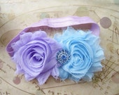 Light Purple and Blue Double Flower Headbands with Rhinestone embelishment in the Center. Photo Prop, Infant, Toddler