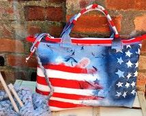 LARGE USA FLAG Knitting crochet project bag needle case pockets denim natural canvas fabric handmade tote travel shopping Birthday