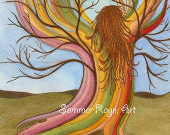 The beauty of Mother Earth coming alive in a tree, chakra, energy force, love and life, Card or Print, Drawing, Item #0117a