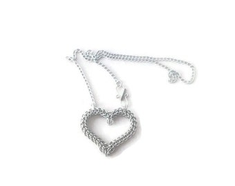 Heart Necklace - Chainmaille Heart Pendant