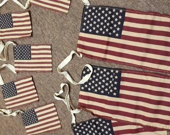 American Flag Garland Rustic Tea Stain Patriotic 50 Star Ornament Vintage Charm Fabric Primitive July Americana Decoration