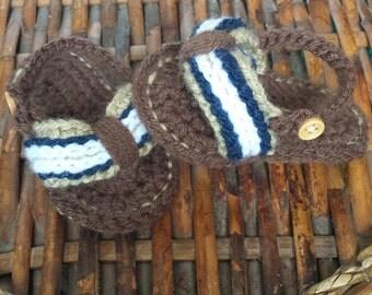 Crochet Sporty Flip Flops --3-6 Mo
