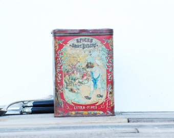 French vintage tin box  French charming  decorated metal box with spices Saint Hubert, Brocante