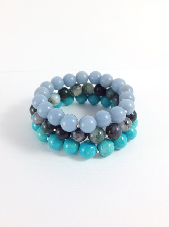 light blue stretch bracelet angelite gemstone by gemsbykelley
