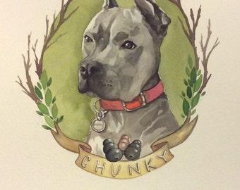 "Custom Pet Portrait 9x12"" Watercolor Painting of your Family Pet"