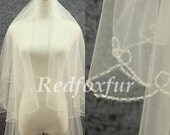 2 tier Cathedral Veil Bridal Veil Ivory Hand-beaded Veil Crescent edge 3 meters veil ,Wedding dress Veil, Wedding Accessories With comb