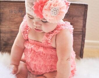 Coral Lace Petti Romper-Lace Baby Romper-Ruffle Romper-Lace Romper-Petti Romper-Baby Outfit-Shabby Chic Petti Romper-Coral Peach Romper