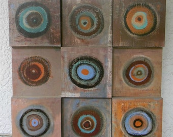 Vintage WOOD MODERN PAINTING Art Large 3 D Circles Three Dimensional Loft Design Wall Hanging