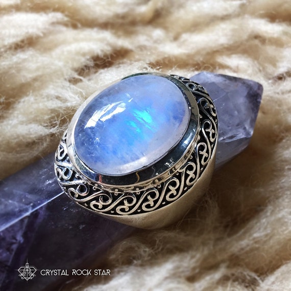 Moonstone Statement Ring Cocktail Size 6 Sterling Silver Large