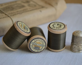 12 antique Victorian spools of sewing thread 1880s