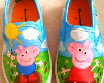 Peppa Pig Inspired Special Occasion Hand Painted Shoes