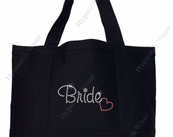 """Rhinestone Sturdy Tote Bag with """" Bride with Heart"""" in Various Color, Bling"""